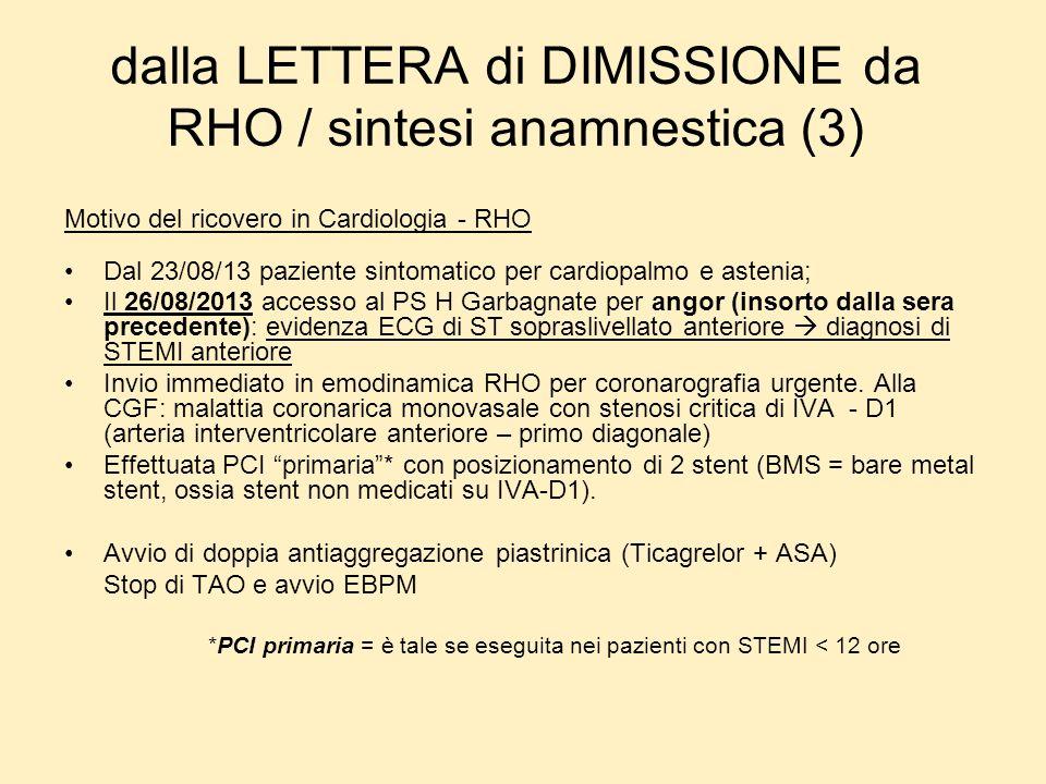 dalla LETTERA di DIMISSIONE da RHO / sintesi anamnestica (3)