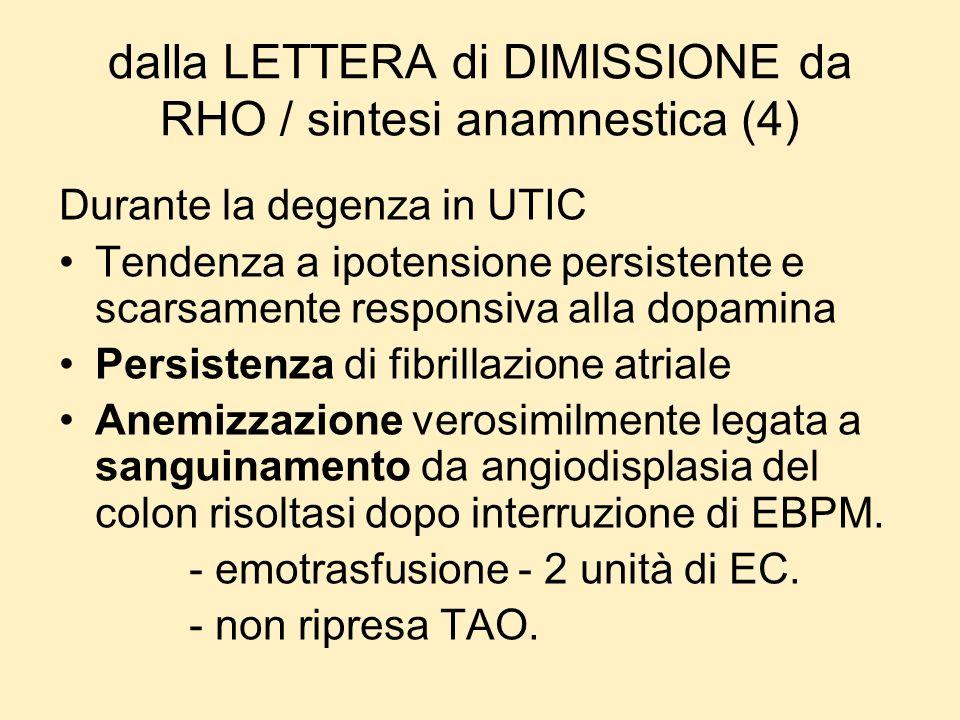 dalla LETTERA di DIMISSIONE da RHO / sintesi anamnestica (4)