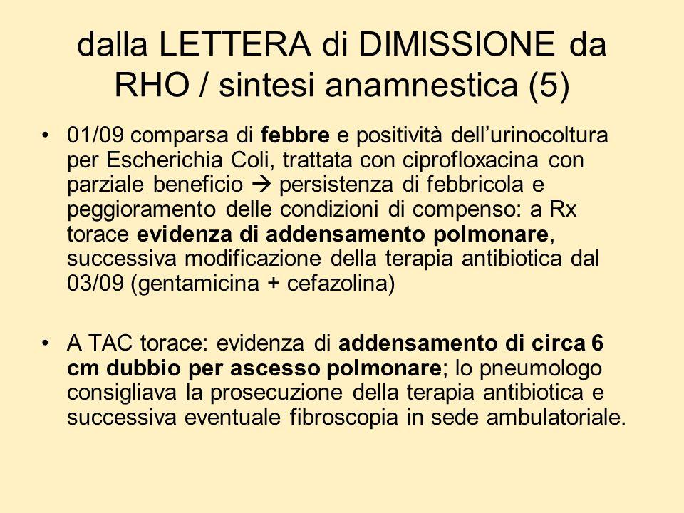 dalla LETTERA di DIMISSIONE da RHO / sintesi anamnestica (5)
