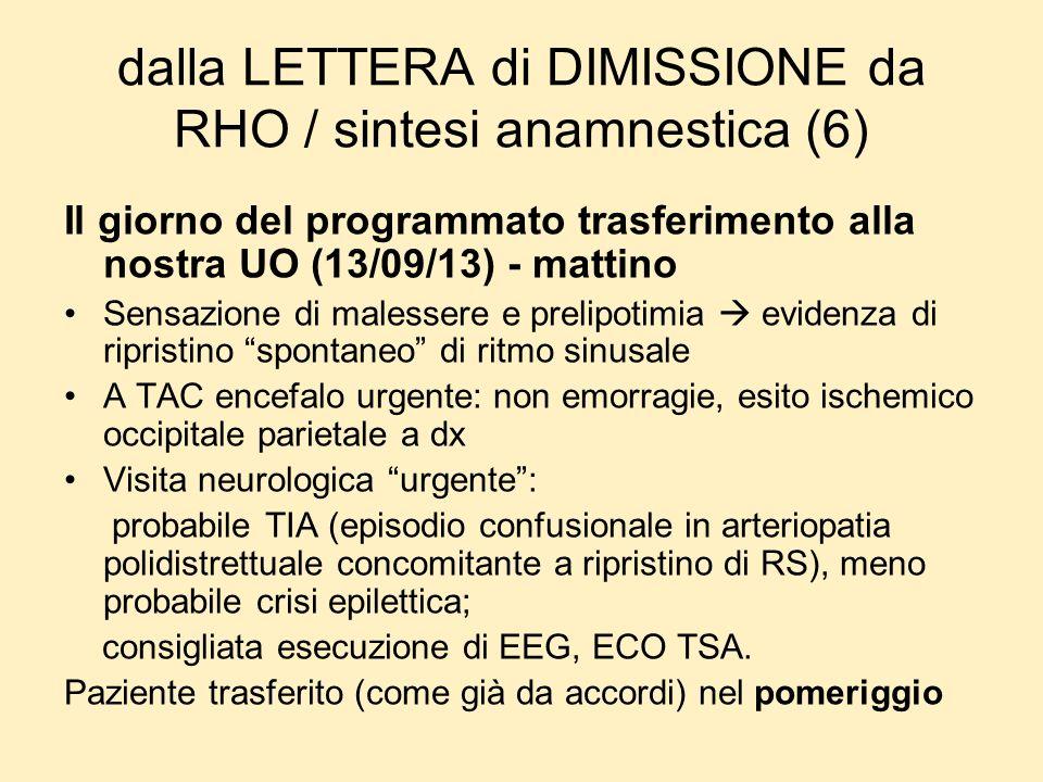 dalla LETTERA di DIMISSIONE da RHO / sintesi anamnestica (6)