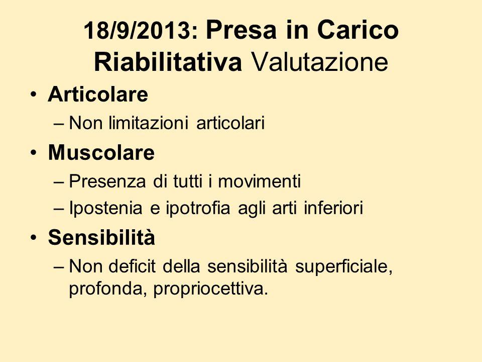 18/9/2013: Presa in Carico Riabilitativa Valutazione