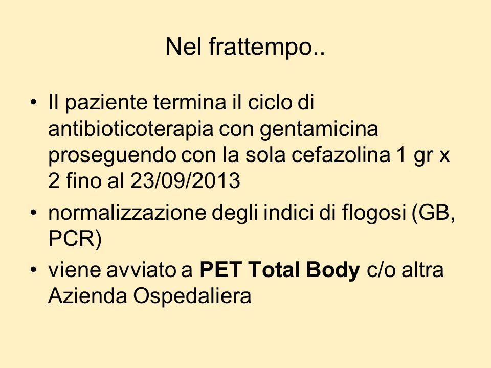 Nel frattempo.. Il paziente termina il ciclo di antibioticoterapia con gentamicina proseguendo con la sola cefazolina 1 gr x 2 fino al 23/09/2013.