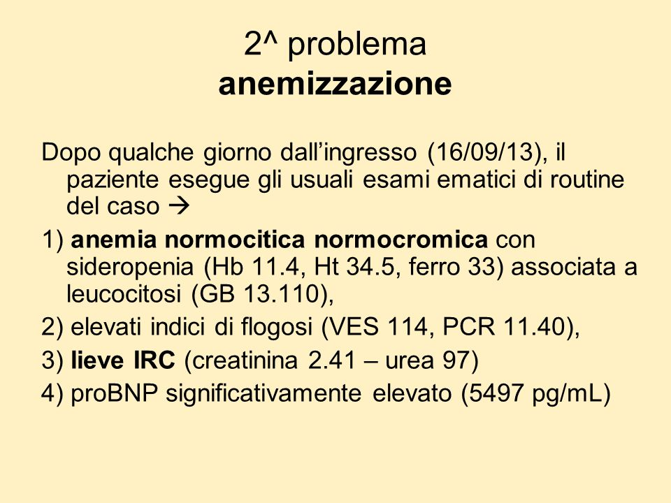 2^ problema anemizzazione
