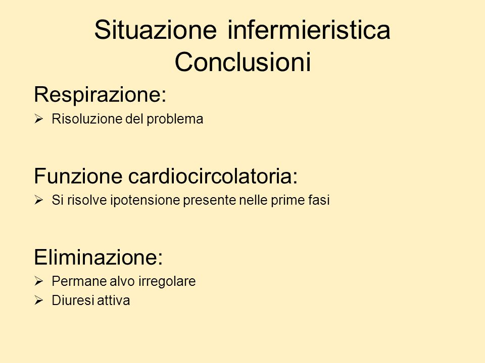 Situazione infermieristica Conclusioni