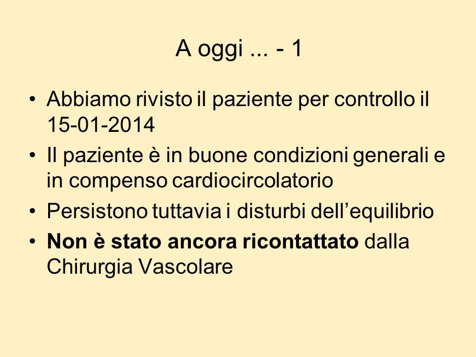 A oggi ... - 1 Abbiamo rivisto il paziente per controllo il 15-01-2014