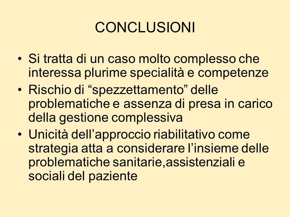 CONCLUSIONI Si tratta di un caso molto complesso che interessa plurime specialità e competenze.