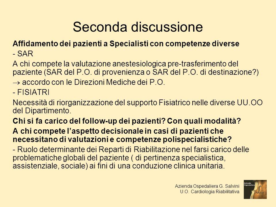 Seconda discussione Affidamento dei pazienti a Specialisti con competenze diverse. - SAR.