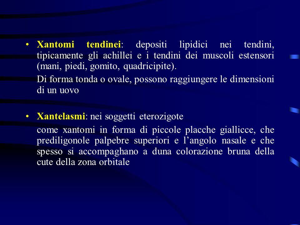 Xantomi tendinei: depositi lipidici nei tendini, tipicamente gli achillei e i tendini dei muscoli estensori (mani, piedi, gomito, quadricipite).