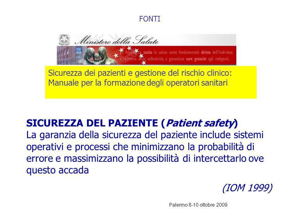 FONTI Sicurezza dei pazienti e gestione del rischio clinico: Manuale per la formazione degli operatori sanitari.