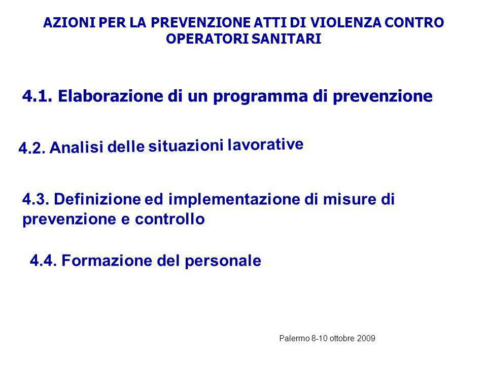 AZIONI PER LA PREVENZIONE ATTI DI VIOLENZA CONTRO OPERATORI SANITARI