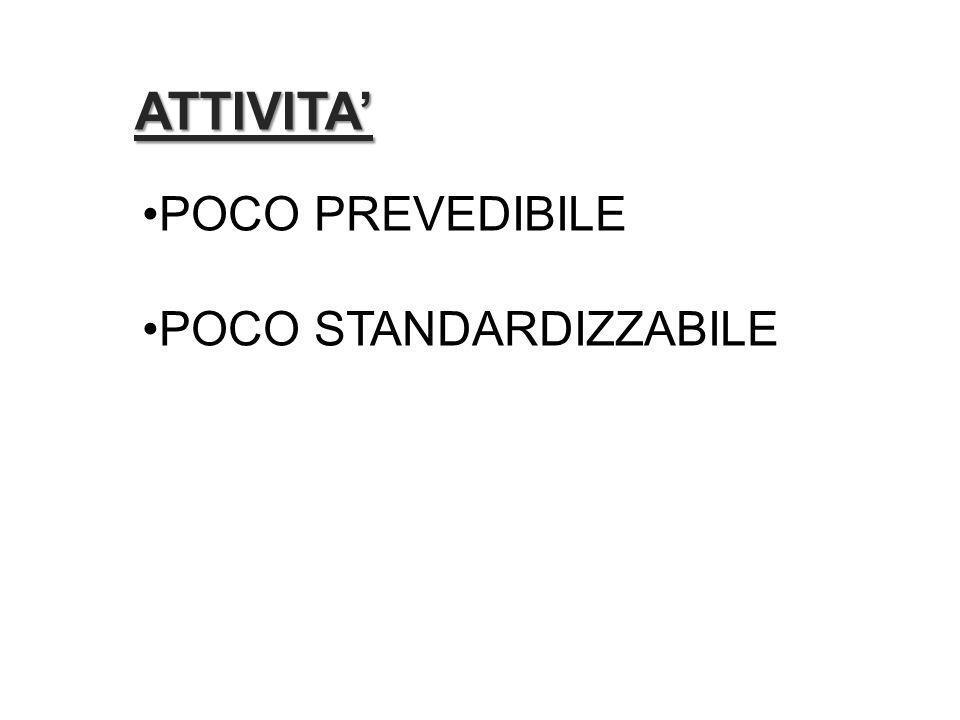 ATTIVITA' POCO PREVEDIBILE POCO STANDARDIZZABILE