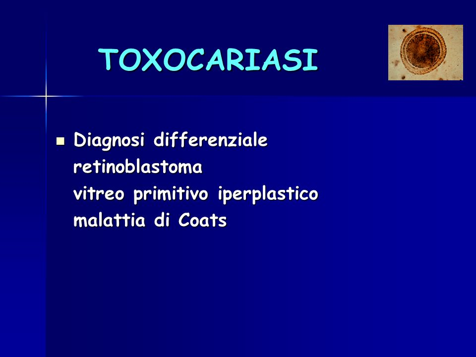TOXOCARIASI Diagnosi differenziale retinoblastoma
