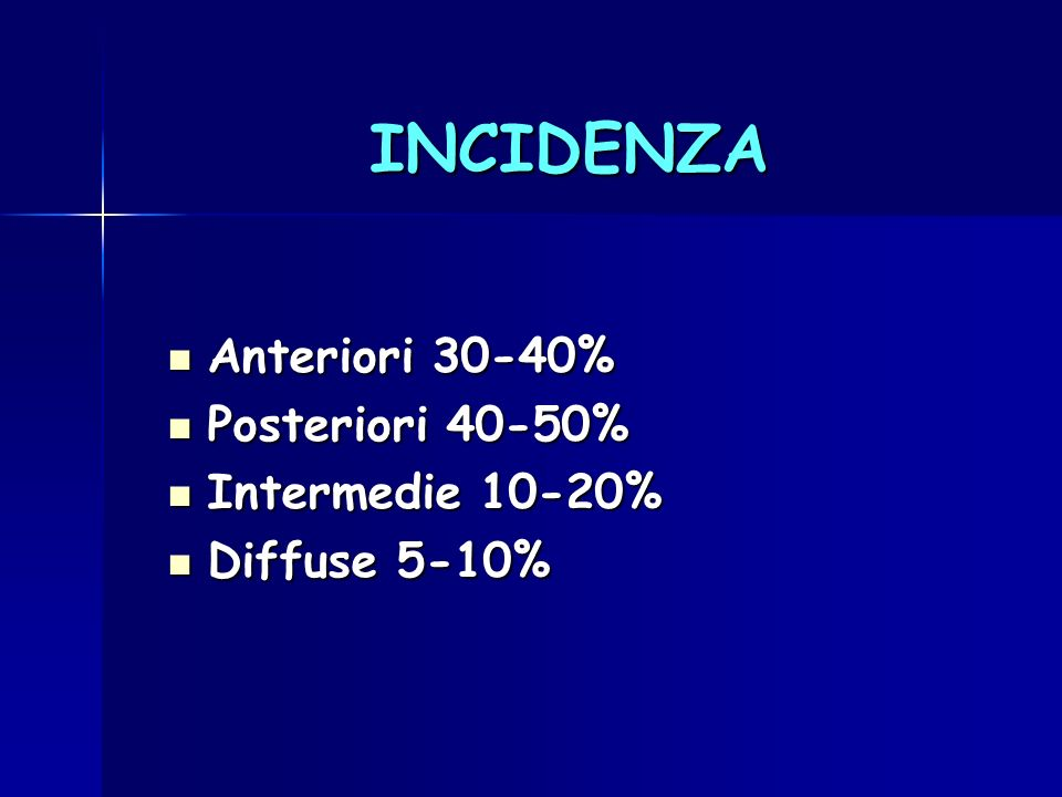INCIDENZA Anteriori 30-40% Posteriori 40-50% Intermedie 10-20%