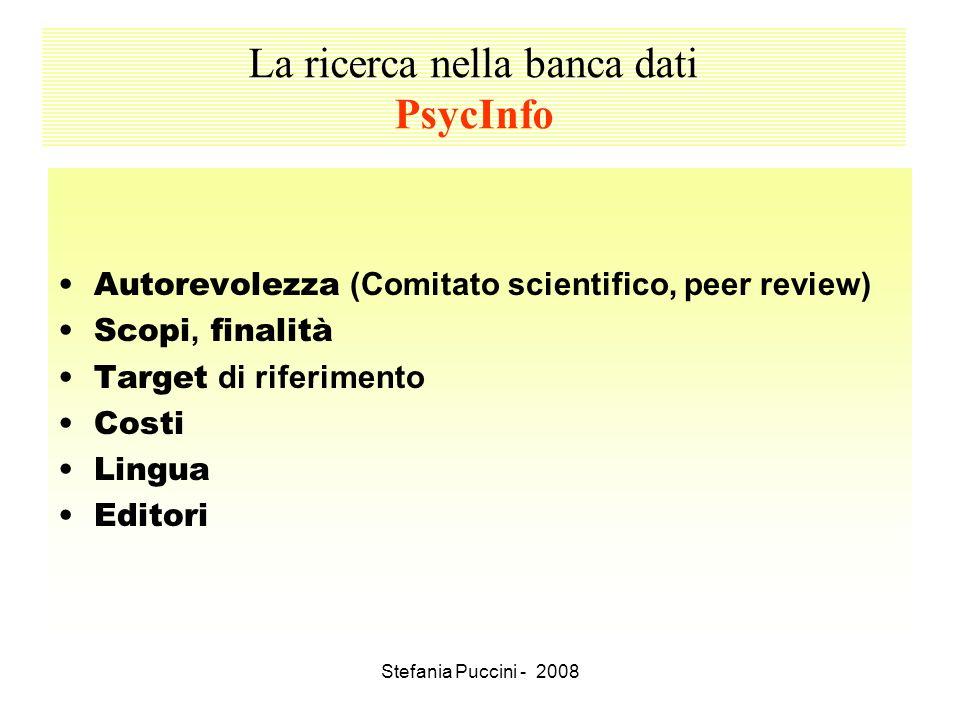 La ricerca nella banca dati PsycInfo