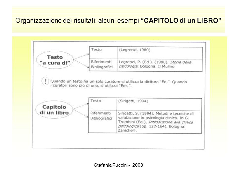 Organizzazione dei risultati: alcuni esempi CAPITOLO di un LIBRO