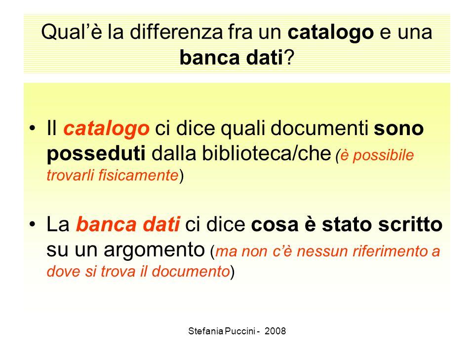 Qual'è la differenza fra un catalogo e una banca dati