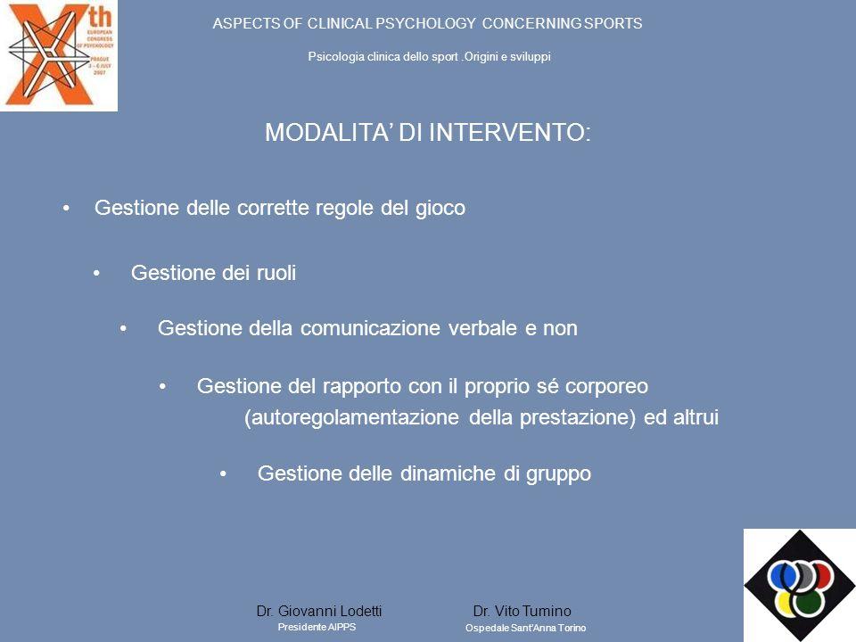 MODALITA' DI INTERVENTO: