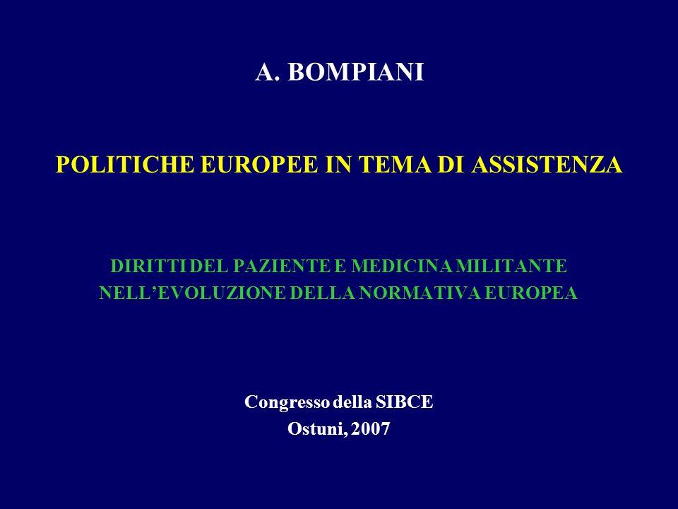 A. BOMPIANI POLITICHE EUROPEE IN TEMA DI ASSISTENZA