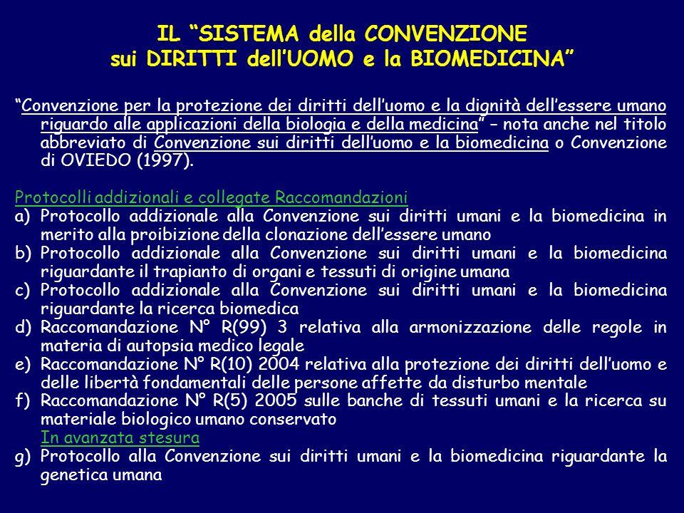 IL SISTEMA della CONVENZIONE sui DIRITTI dell'UOMO e la BIOMEDICINA