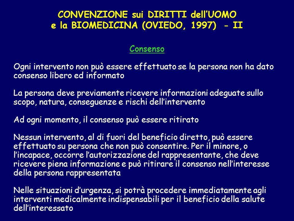 CONVENZIONE sui DIRITTI dell'UOMO e la BIOMEDICINA (OVIEDO, 1997) - II