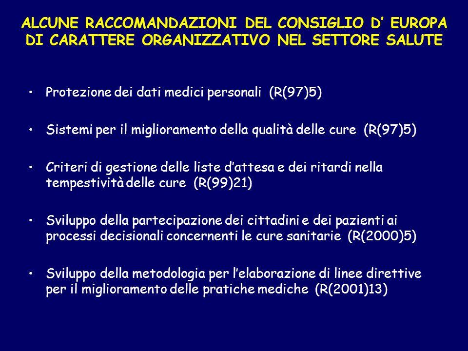 ALCUNE RACCOMANDAZIONI DEL CONSIGLIO D' EUROPA DI CARATTERE ORGANIZZATIVO NEL SETTORE SALUTE