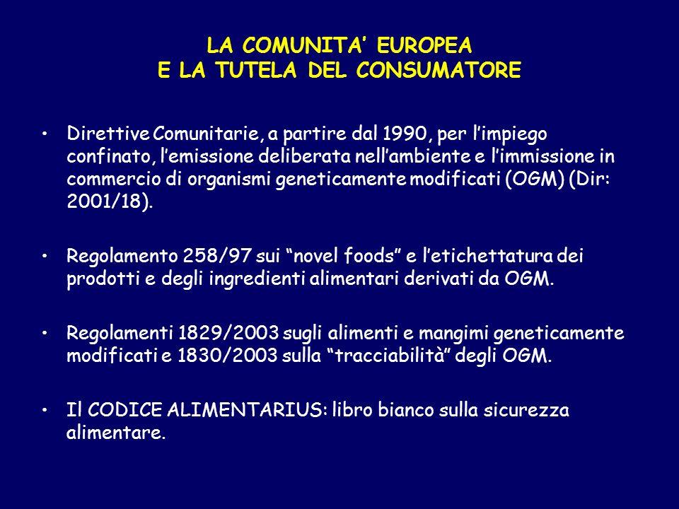 LA COMUNITA' EUROPEA E LA TUTELA DEL CONSUMATORE
