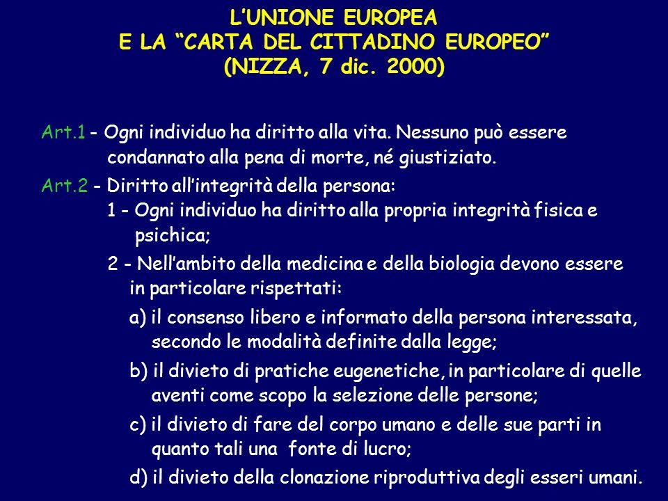 L'UNIONE EUROPEA E LA CARTA DEL CITTADINO EUROPEO (NIZZA, 7 dic