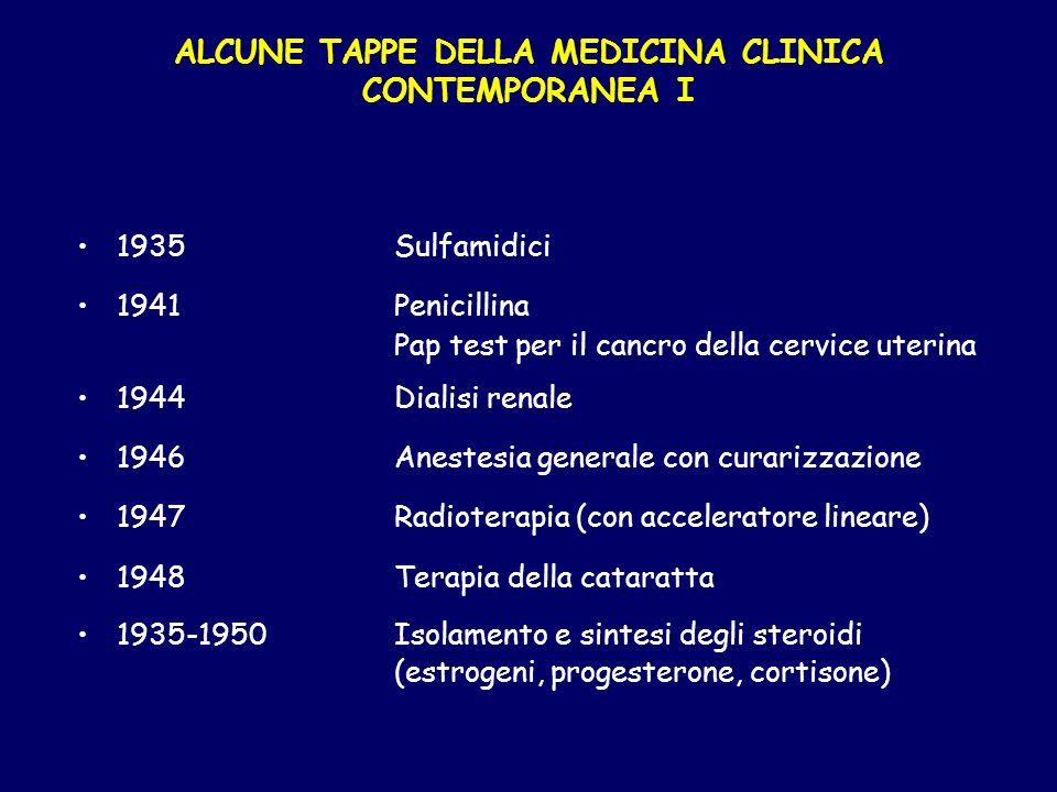 ALCUNE TAPPE DELLA MEDICINA CLINICA CONTEMPORANEA I