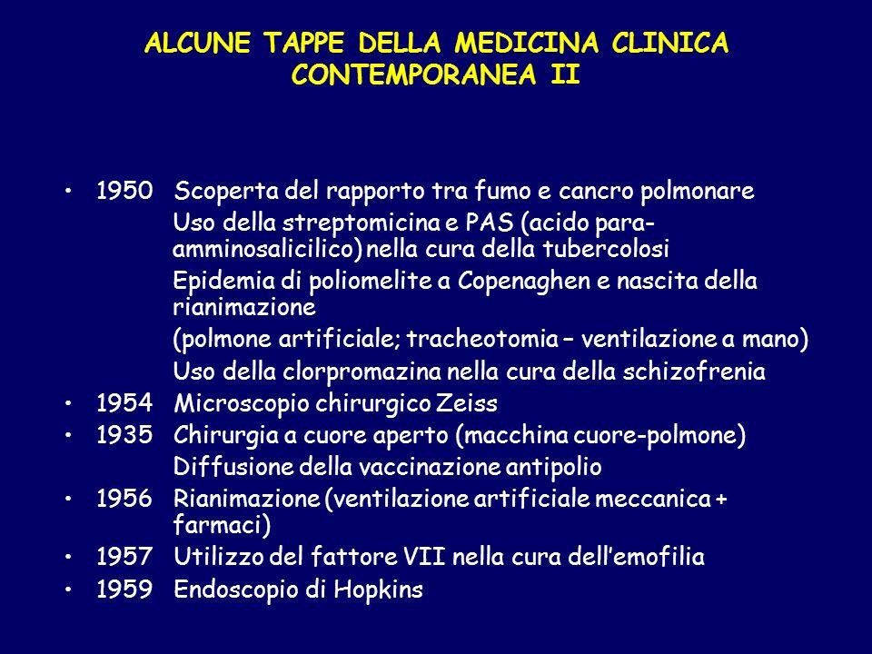 ALCUNE TAPPE DELLA MEDICINA CLINICA CONTEMPORANEA II