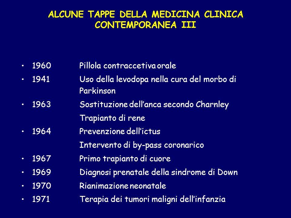 ALCUNE TAPPE DELLA MEDICINA CLINICA CONTEMPORANEA III