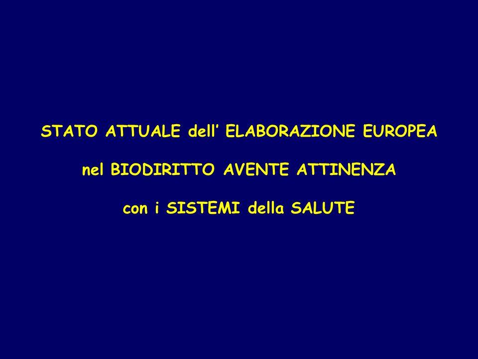 STATO ATTUALE dell' ELABORAZIONE EUROPEA