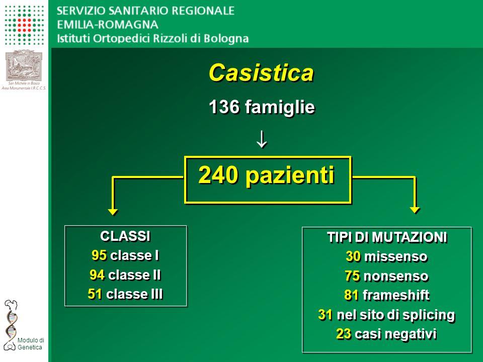 Casistica 240 pazienti 136 famiglie  CLASSI TIPI DI MUTAZIONI
