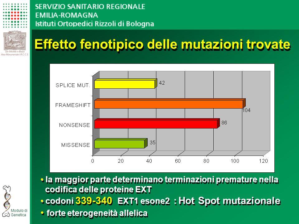 Effetto fenotipico delle mutazioni trovate