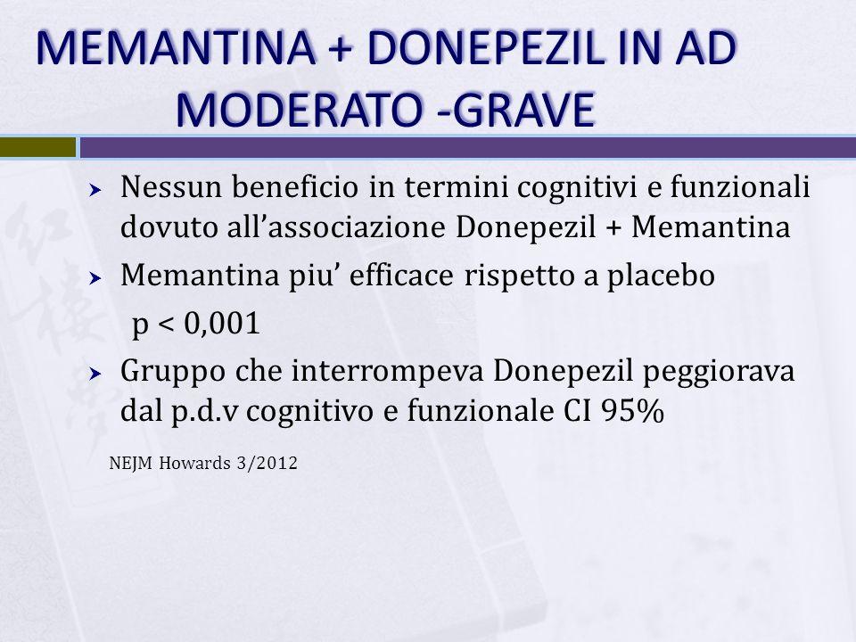 MEMANTINA + DONEPEZIL IN AD MODERATO -GRAVE