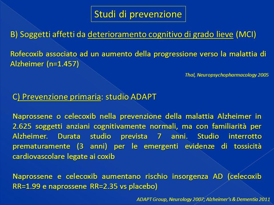 Studi di prevenzione B) Soggetti affetti da deterioramento cognitivo di grado lieve (MCI)