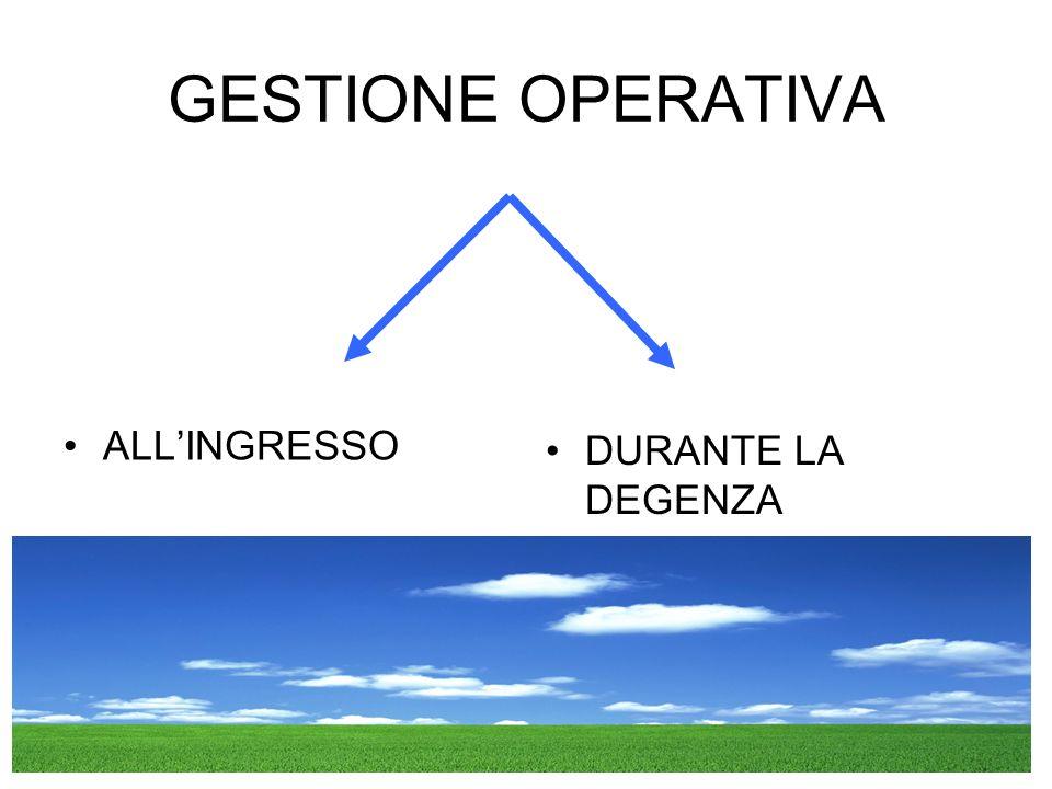 GESTIONE OPERATIVA ALL'INGRESSO DURANTE LA DEGENZA