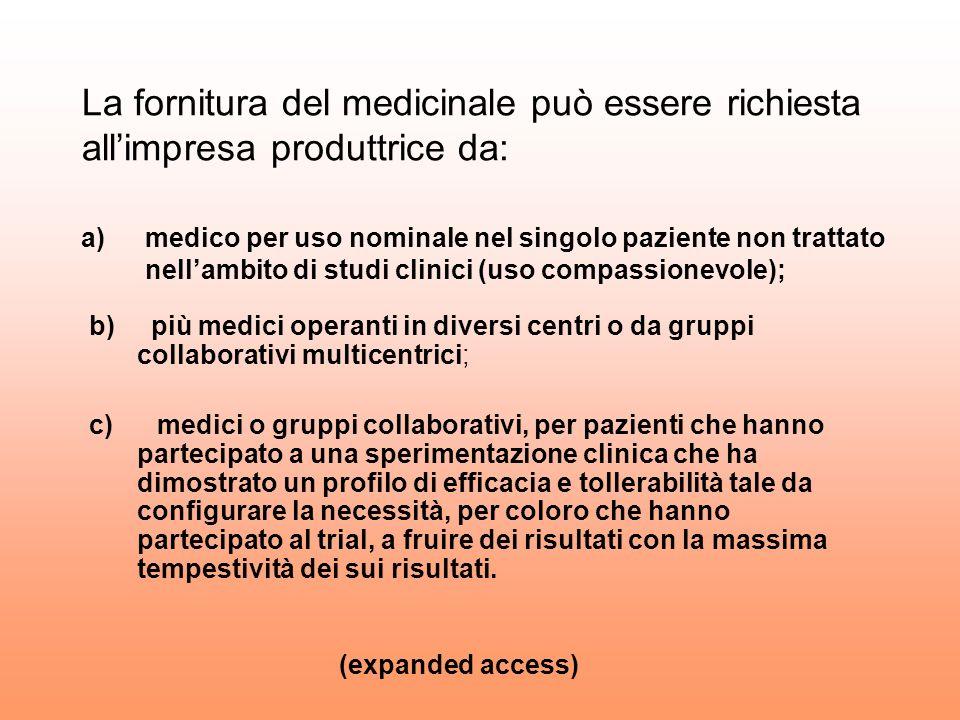 La fornitura del medicinale può essere richiesta all'impresa produttrice da: