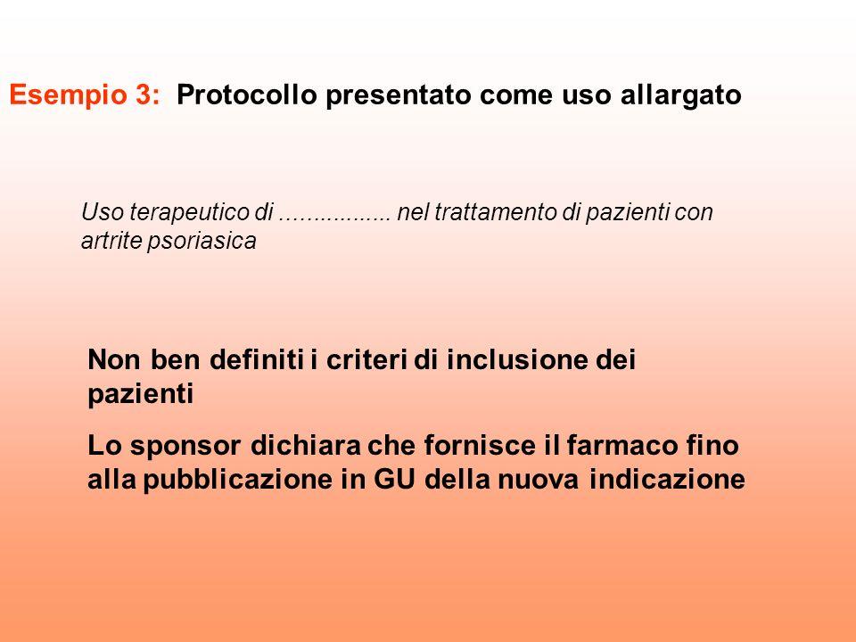 Esempio 3: Protocollo presentato come uso allargato