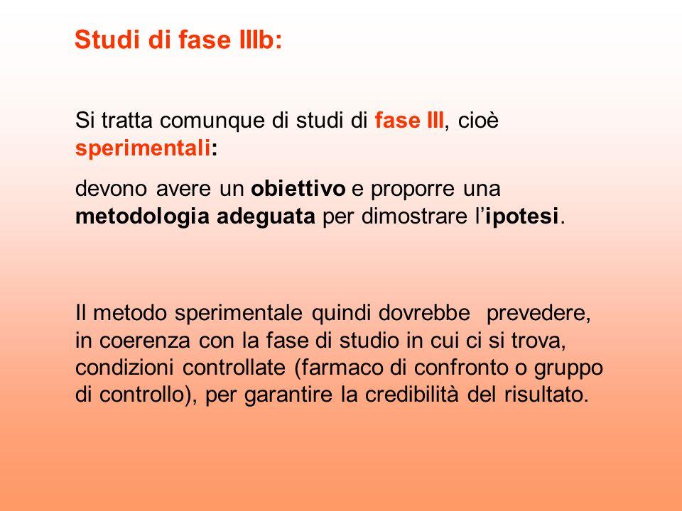 Studi di fase IIIb: Si tratta comunque di studi di fase III, cioè sperimentali:
