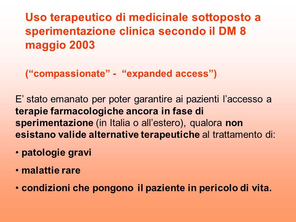 Uso terapeutico di medicinale sottoposto a sperimentazione clinica secondo il DM 8 maggio 2003 ( compassionate - expanded access )