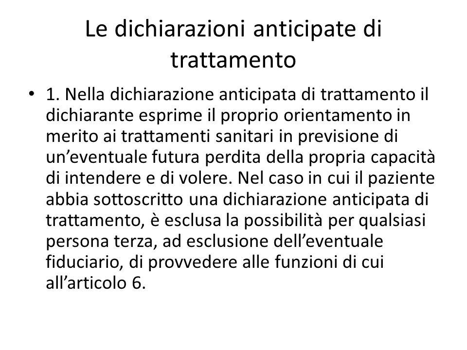 Le dichiarazioni anticipate di trattamento