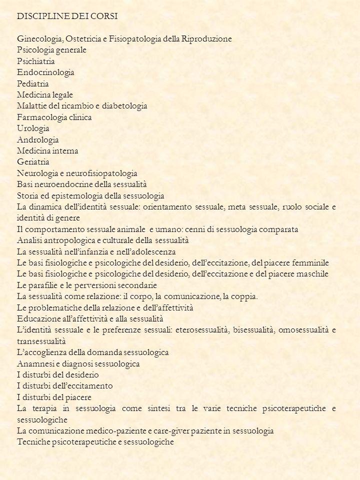 DISCIPLINE DEI CORSI Ginecologia, Ostetricia e Fisiopatologia della Riproduzione. Psicologia generale.