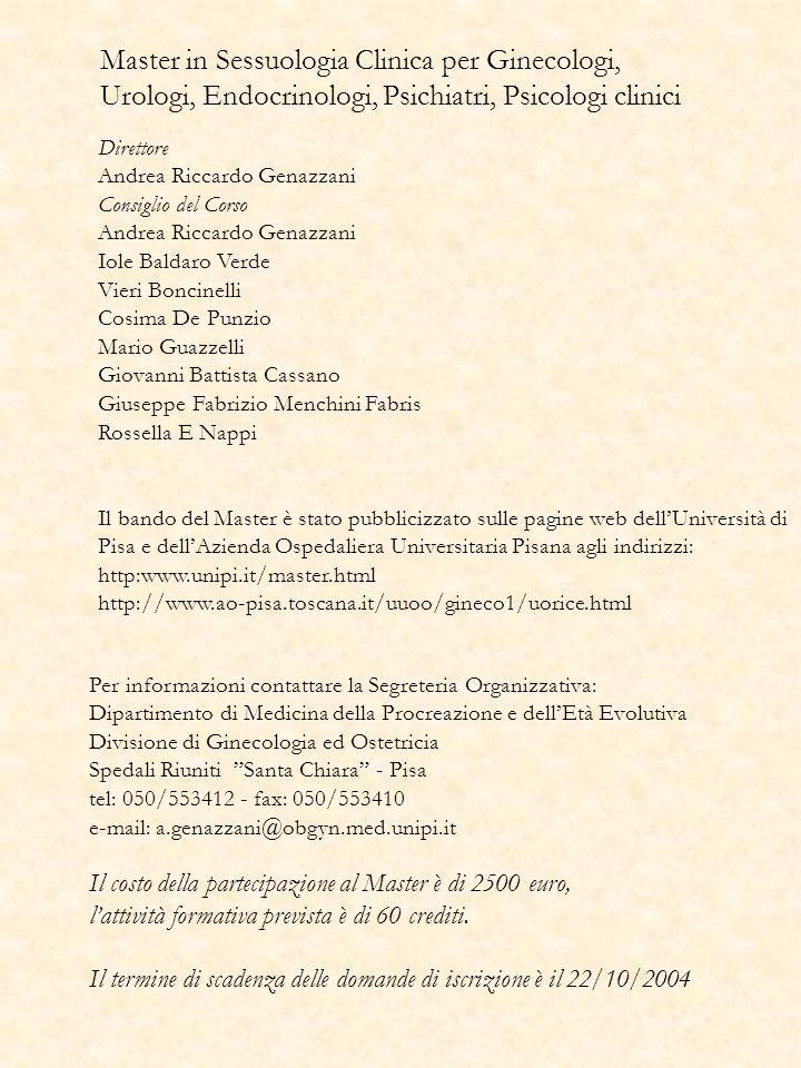 Master in Sessuologia Clinica per Ginecologi, Urologi, Endocrinologi, Psichiatri, Psicologi clinici