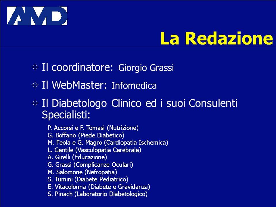La Redazione Il coordinatore: Giorgio Grassi Il WebMaster: Infomedica