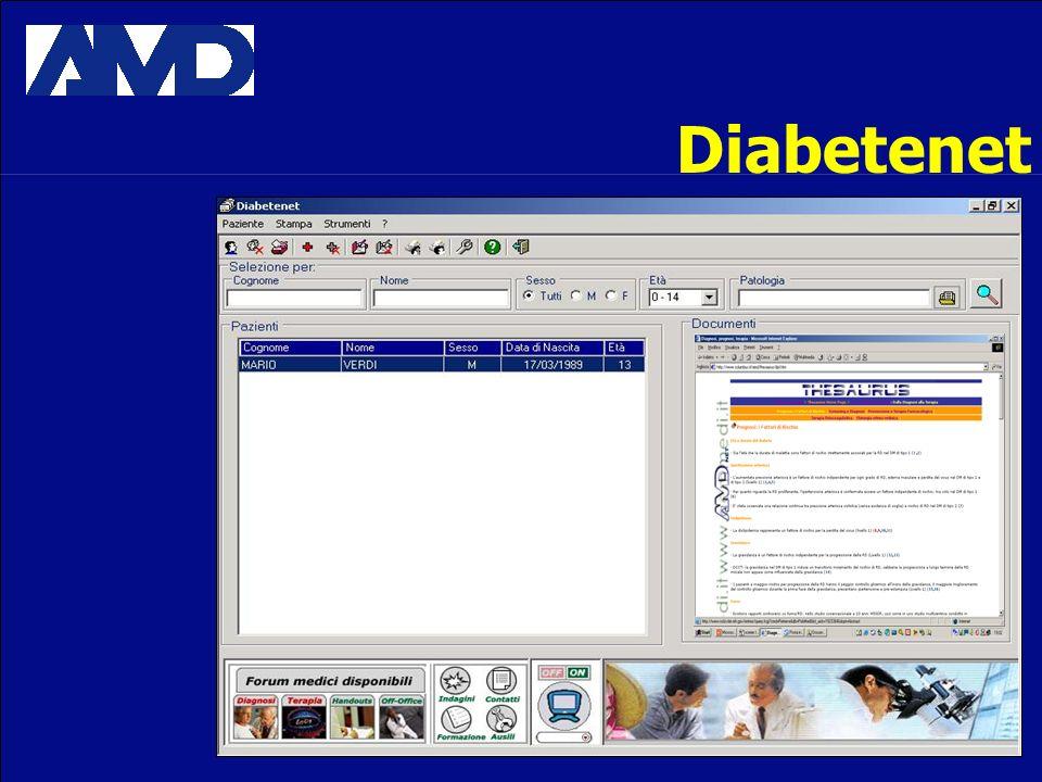 Diabetenet Internet, multimedialità, teleconsulenza, chat, banche dati, cartella clinica, file dati.