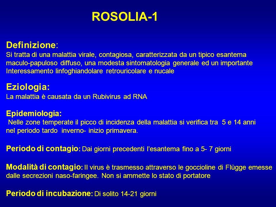 ROSOLIA-1 Definizione: Eziologia: Epidemiologia: