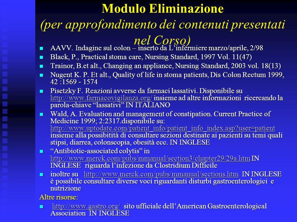 Modulo Eliminazione (per approfondimento dei contenuti presentati nel Corso)