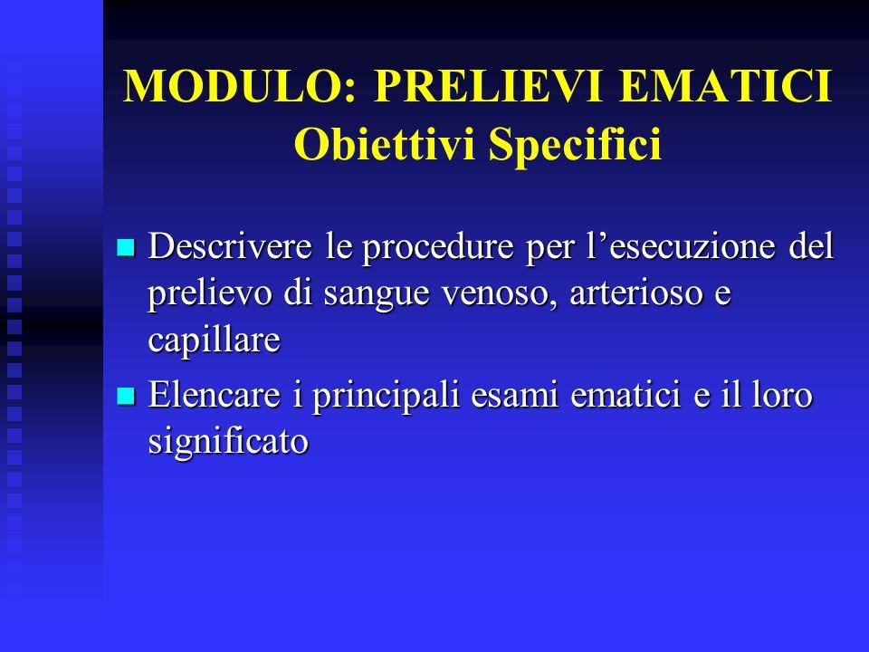 MODULO: PRELIEVI EMATICI Obiettivi Specifici