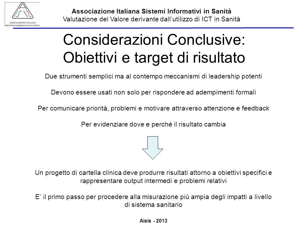 Considerazioni Conclusive: Obiettivi e target di risultato
