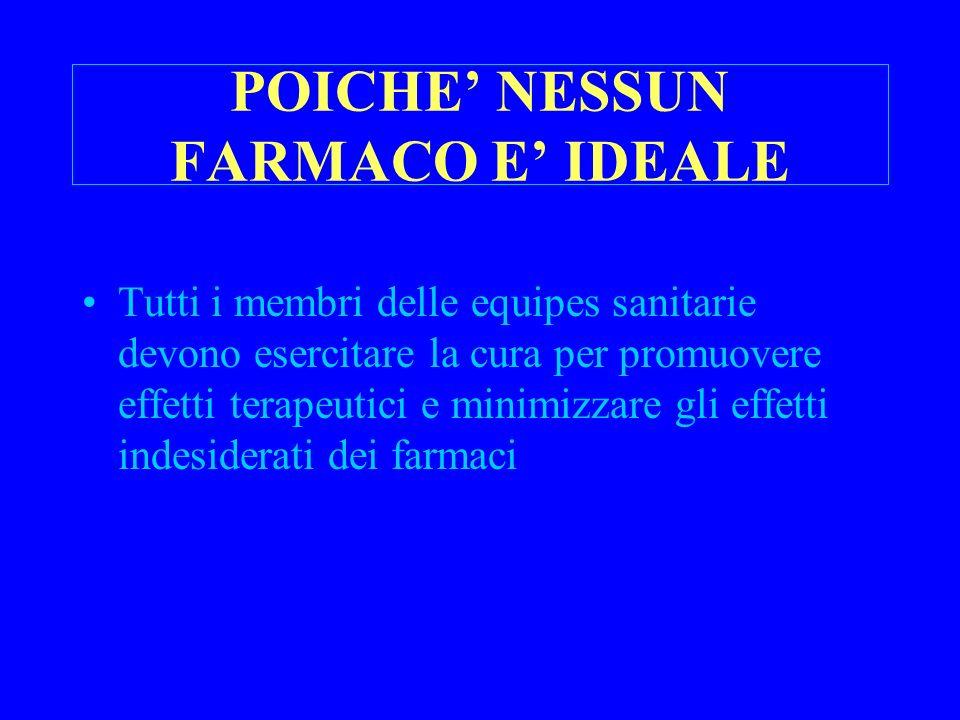 POICHE' NESSUN FARMACO E' IDEALE